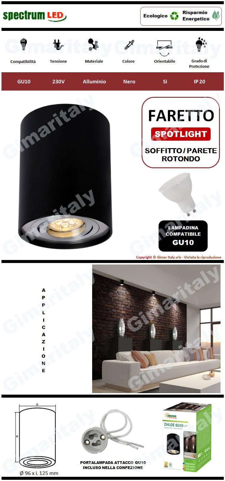 Portafaretto Orientabile Rotondo Nero da soffitto per lampadina GU10 Spectrum
