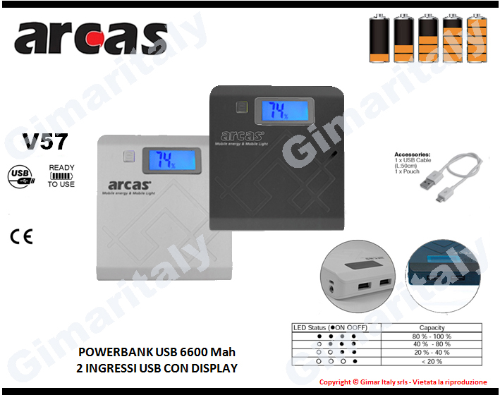 Powerbank 6600mah 2 USB display Arcas V57