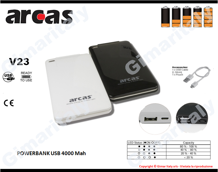 Powerbank 4000mah Arcas V23