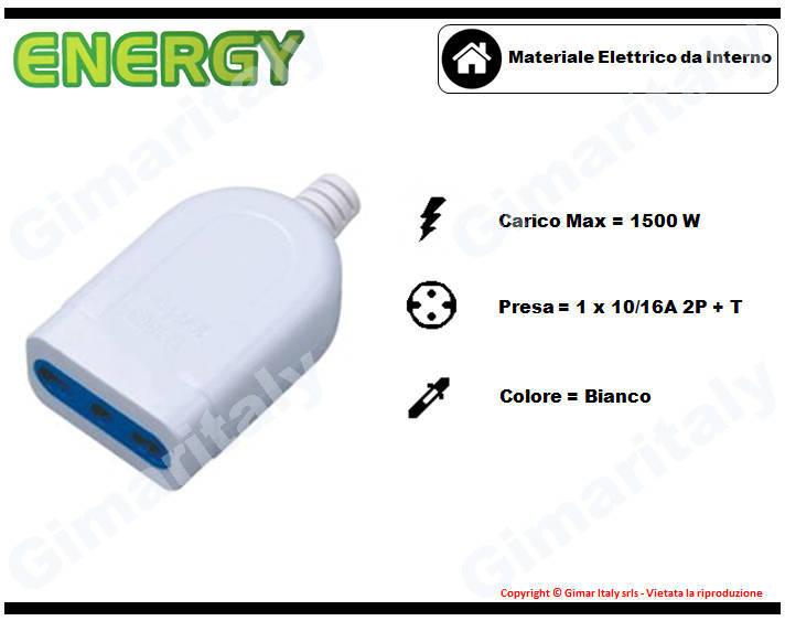 Presa tonda bivalente 10/16A bianco Energy