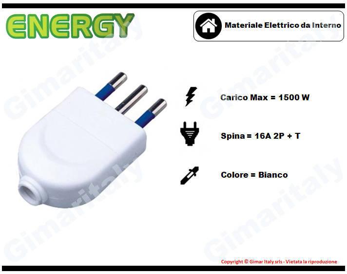Spina tonda 16A bianco Energy