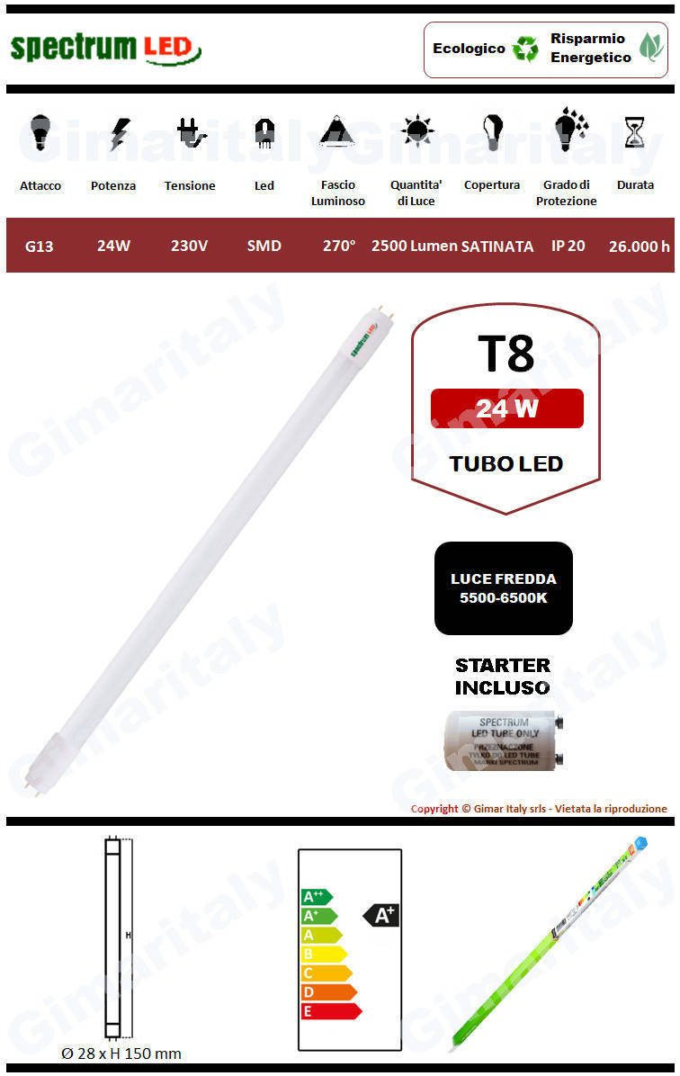 Tubo Led G13 24W 150 cm luce fredda Spectrum