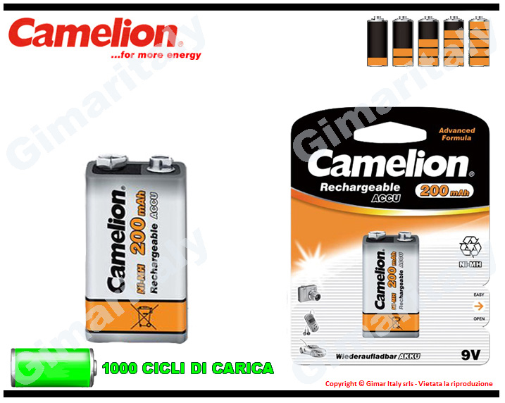 Batteria 9V Transistor Ricaricabile 200 mAh Camelion