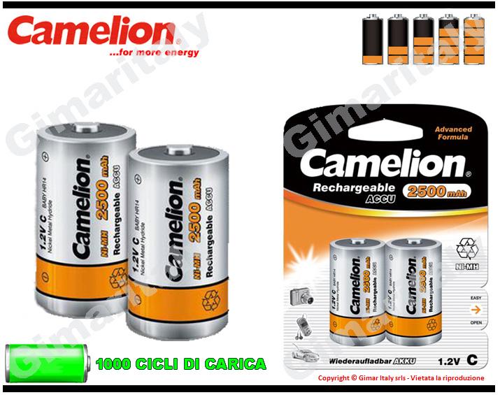 Batterie Mezza Torcia C Ricaricabili 2500 mAh Camelion