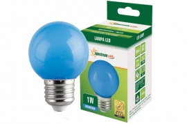 Lampadina Led E27 1W miniglobo colorata blu Spectrum