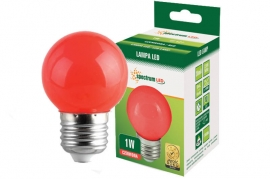 Lampadina Led E27 1W miniglobo colorata rossa Spectrum