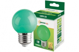 Lampadina Led E27 1W miniglobo colorata verde Spectrum