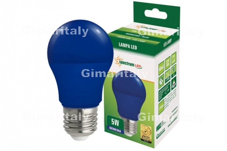 Lampadina Led E27 5W globo A50 colorata blu Spectrum