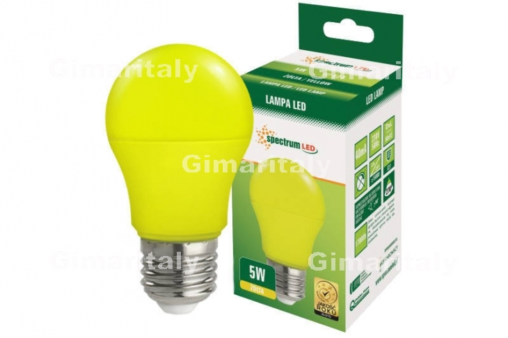 Lampadina Led E27 5W globo A50 colorata gialla Spectrum