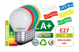 Lampadine Led E27 1W miniglobo G45 Colorate Spectrum