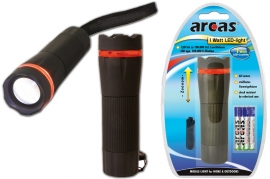 Torcia 1W Led con zoom in pvc nero Arcas